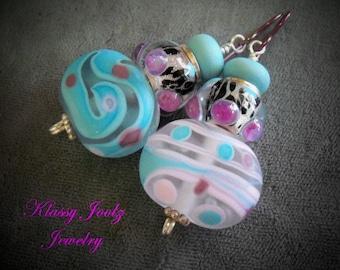 Glass Lampwork Beaded Earrings-Bumpy Artisan Lampwork Dangle Earrings-Animal Print Earrings-Asymmetrical Lampwork Beads-SRAJD-Artisan Beads