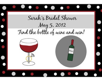 24 Personalized Bridal Shower Scratch Off Game Cards - Wine and Ring