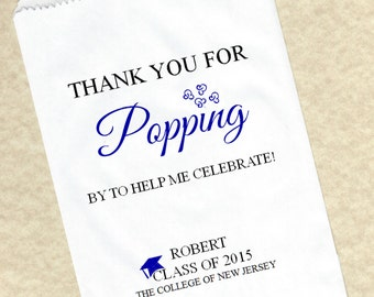 Thank You for Popping by! Graduation Birthday Personalized Candy Favor Buffet Party Popcorn bags