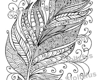 Tangled Feather Coloring Page JPG