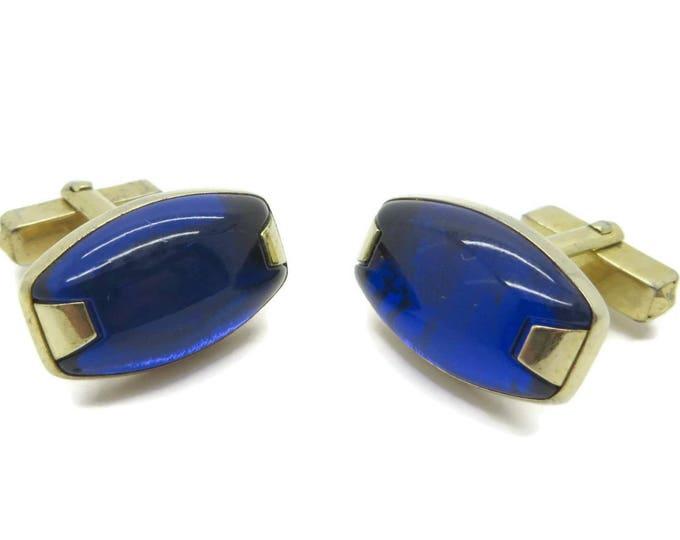 Cobalt Blue Cufflinks, Vintage Men's Gold Tone Cuff Links, Men's Suit Accessory Gift Idea