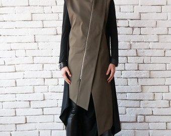 Extravagant Two Color Blazer/Oil Green and Black Loose Tunic/Sleeveless Khaki Casual Shirt/Plus Size Trench Coat/Asymmetric Zipper Jacket