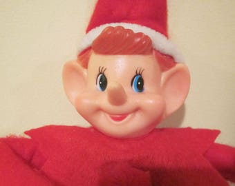 Vintage Knee Hugger Christmas Elf Pixie Doll
