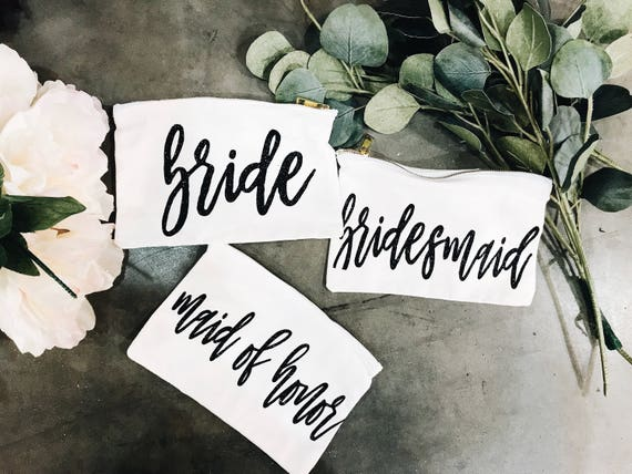Bridesmaid Make Up Bags | Maid of Honor Gift | Bride Make Up Bag | Custom Make Up Bag