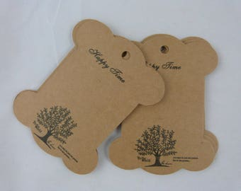 """thick kraft label or tag """"happy time tree"""""""
