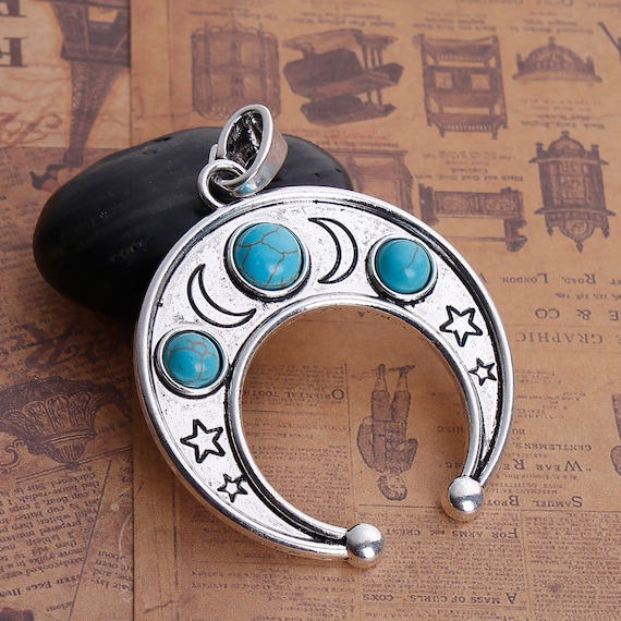 1 silver crescent moon pendant charm with star design and faux 1 silver crescent moon pendant charm with star design and faux turquoise silver bail upside down half moon 2 14 wide chs2810 from smartparts on etsy aloadofball Gallery