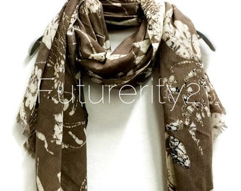 Batik Floral Brown Scarf / Spring Summer Scarf / Autumn Scarf / Gifts For Her / Accessories / Women scarves