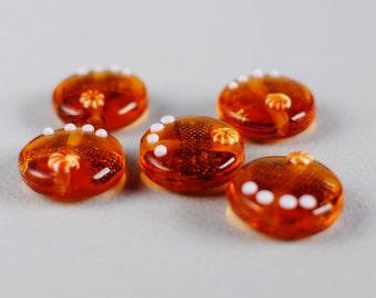 Artisan Made Lampwork Beads -Amber Detailed Lampwork Beads - 20mm Round Lampwork Lentils