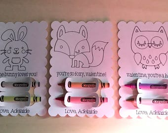 Bunny, Fox, and Owl coloring card, crayon, non-candy card, Valentine's Day, coloring valentine