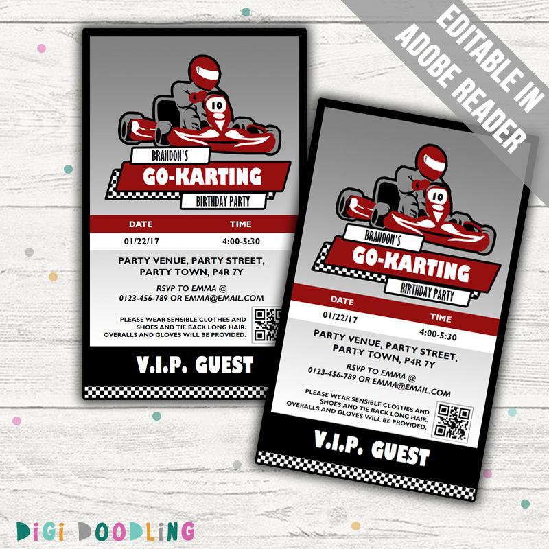 Go Kart Party Invitations Go Kart VIP Pass Design. Editable