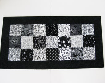 """Quilted Table Runner, Patchwork Table Runner, Black And White Table Runner, 13"""" X 25"""""""