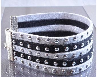 Goth Bracelet | Rocker Chic Bracelet | Pleather Bracelet | Punk Bracelet | Statement Bracelet