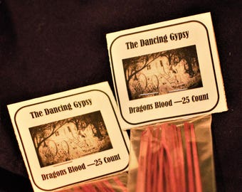 Dragons Blood Incense Sticks, 25 Incense Sticks, Hand Dipped