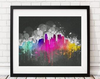 Minneapolis Skyline Print, Minneapolis Art, Minneapolis Print, Minneapolis Wall Art, Watercolor Art, Minneapolis Poster, Gift for Her Him