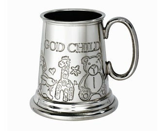 Personalised God Child Embossed Pewter Children's Mug Customised Engraved Message