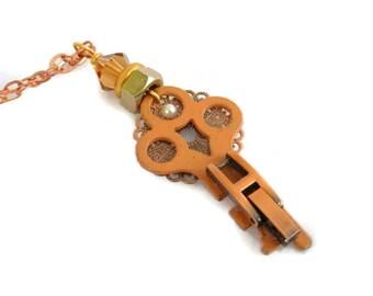 Steampunk Style Necklace --Copper Key SNK112
