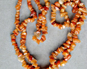 Beads, RED AVENTURINE, Chips,  Necklace, Nugget, Carnelian, 34 inch, Smooth, I