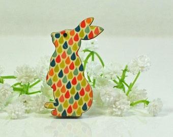 Bunny Brooch Rabbit Jewelry Dewey- Multicolor Teardrop Rabbit Brooch - Bunny Jewelry - Rabbit Pin - Woodland Animal - Animal Jewelry -Nature