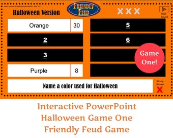 halloween friendly feud game one family feud interactive powerpoint game classroom girl scouts youth group family friendly