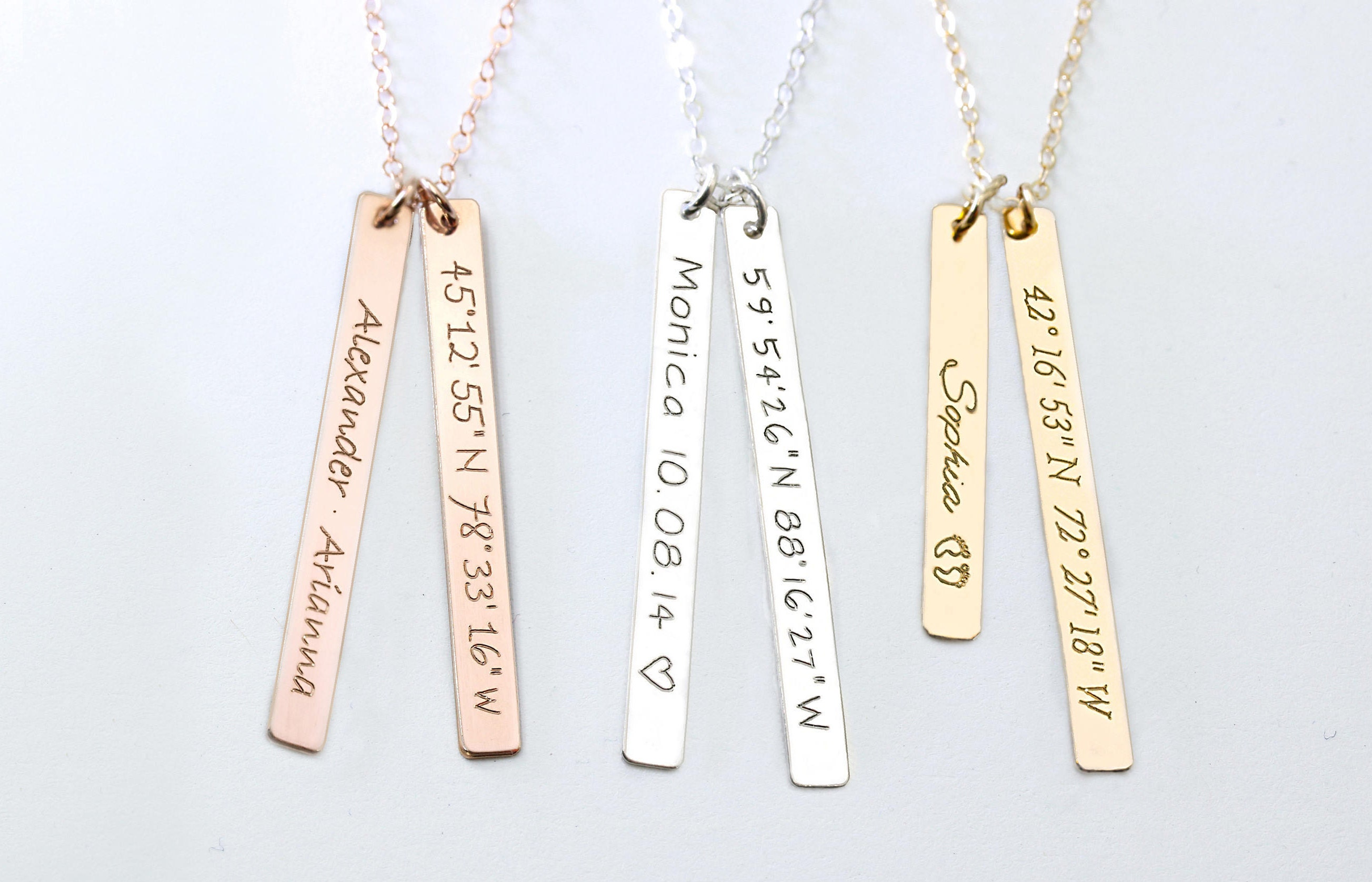 fullxfull pusv silver jewelry listing gift nameplate graduation necklace coordinate gold coordinates sterling il