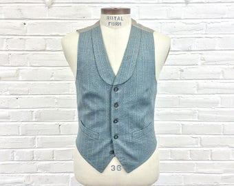 Size 36 Vintage Men's 1960s Does 1910s 1920s Wool Striped Vest with Lapels