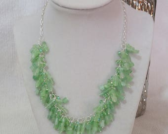 Green cat's eye glass and crystal cluster necklace