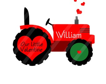 Tractor Valentine Personalized Digital Image for iron-ons,heat transfers, T-Shirts, Onesies, Bibs, Towels, Aprons, DIY YOU PRINT