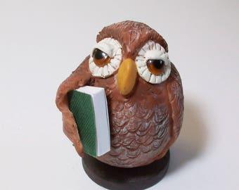 Owl figurine, Love my Book:  Polymer clay owls
