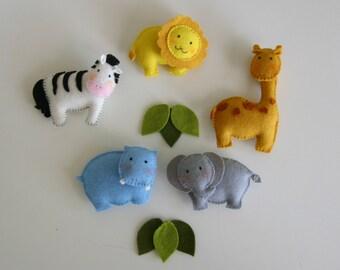 pattern felt ornaments, 5 animals, crib mobile DIY, wool felt pattern, giraffe, zebra, hippo, lion, elephant.