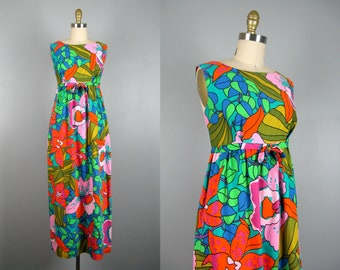 Vintage 1960s Tropical Print Cotton Dress 60s Bold Floral Print Hawaiian Dress Size M