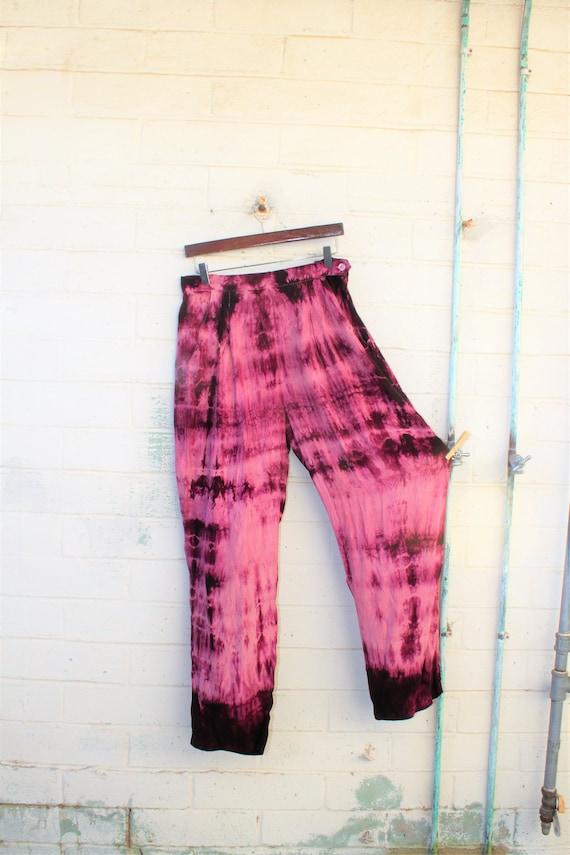 Medium Silk Tie Dye Pants/Ultra Violet Pants/Tie Dye Pants/Upcycled Hippie Pants/Tie Dye Slacks/Upcycled Clothing/Tie Dye Clothing bohemian