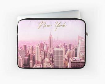 New York Laptop Case - New York Laptop Sleeve - Tablet case, iPad case, custom laptop case, gold case, gift for her, New York gift