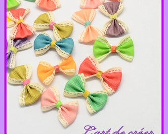 10 x bow Ribbon grosgrain 23 x 33 mm, yellow, green, blue, pink, purple, green, turquoise