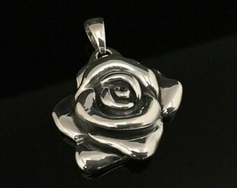 Rose Silver Pendant - 925 Sterling Silver - Oxidized Finish -- Silver Pendants