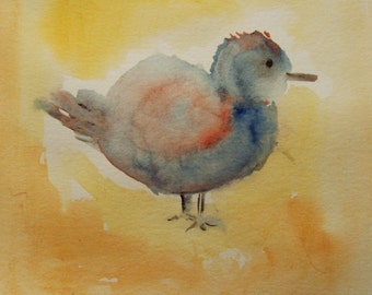 Original Bird Watercolor Painting, Small Watercolor, Blue Orange Bird, Gift Idea