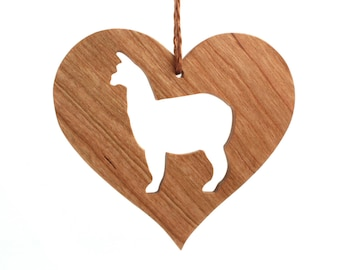Alpaca Ornament Wood Heart Shaped Pet Ornament Christmas Alpaca Decoration Country Farm Animal Ornament Christmas Pet Decoration Cherry