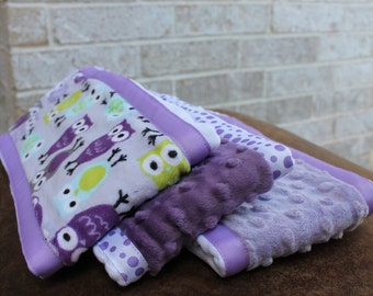 Set of 3 Matching Burp Cloths with Owl Print Minky and Coordinating Purple Dimple Dot Minky and Brown Dimple Dot with Ribbon Edging