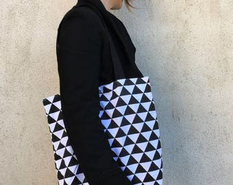 Bag Tote Bag graphic black and white triangles
