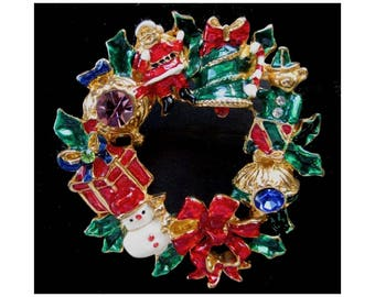 Christmas Wreath Pin * Colorful Christmas Brooch With Rhinestones * Classic Vintage Holiday Pin