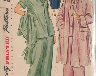Bust 30-1950's Misses' Two-Piece Pajamas and Coat Simplicity 2999 Size 12