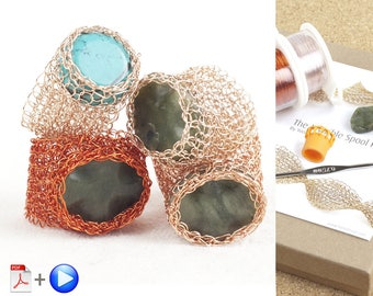 Jewelry DIY Kit, Ring DIY KIT, Mesh Jewelry kit, Crochet Patterns for Woman, Crochet Patterns Jewelry, Wire Wrapped Ring, Stone Ring Pattern