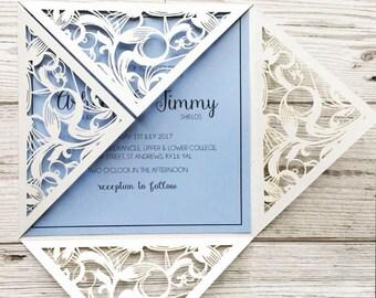 Vintage wedding stationery - laser cut wedding invitations - wedding invites