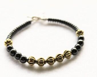 Gold and Black Hematite Beaded Bracelet