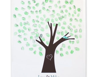 Thumb Tree Guest Book with dove - Signature Mat Unframed, Wedding Tree Guest Book, Wedding Guest Book Alternative