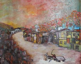 European art oil painting landscape village scene