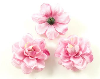 Set of 3 artificial flowers without stem 5.5 cm - pink