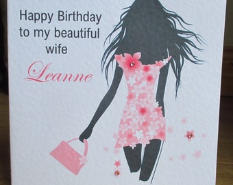 Handmade Woman Silhouette Personalised Birthday Card Any Text Any Relation Any Age