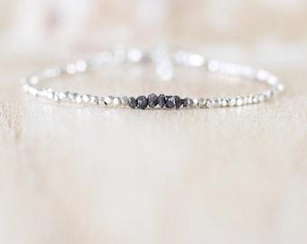 Black Rough Diamond, Sterling & Karen Hill Tribe Silver Bracelet. Delicate Beaded Gemstone Jewellery. Dainty Stacking Bracelet. Fine Jewelry