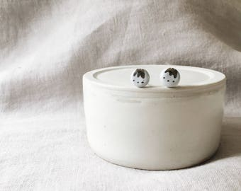 Small Blue Ceramic Stud Earrings