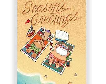 Beach Holiday Season's Greetings Card - 18 Beach Christmas Cards & Envelopes - 30036